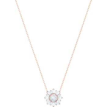 Sunshine Pendant, White, Rose-gold tone plated