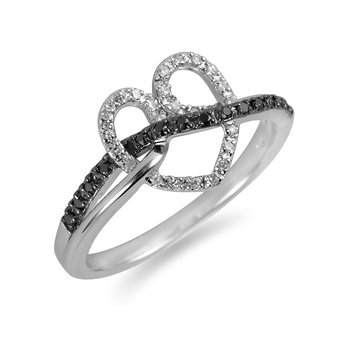 925 SS White and Black Diamond Heart Ring