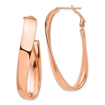 14k Rose Gold Polished 7mm Twisted Omega Back Oval Hoop Earrings