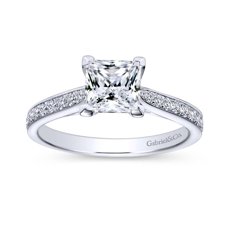 Gabriel Bridal Bestsellers 14K White Gold Princess Cut Diamond Engagement Ring