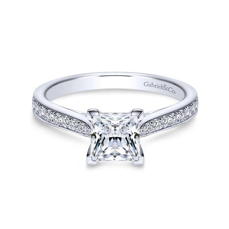 Gabriel  14K White Gold Princess Cut Diamond Engagement Ring