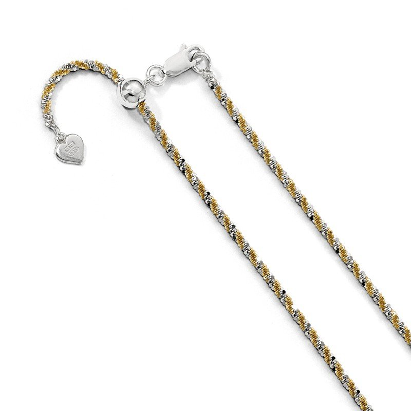 Leslie's Leslie's Sterling Silver w/Gold-tone Adjustable 2mm Cyclone Chain