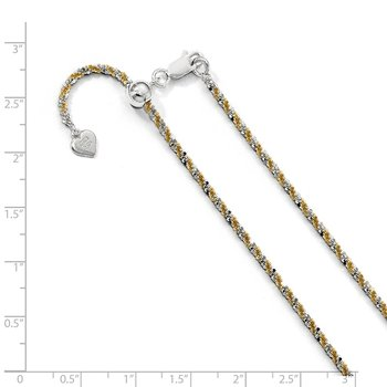 Leslie's Sterling Silver w/Gold-tone Adjustable 2mm Cyclone Chain