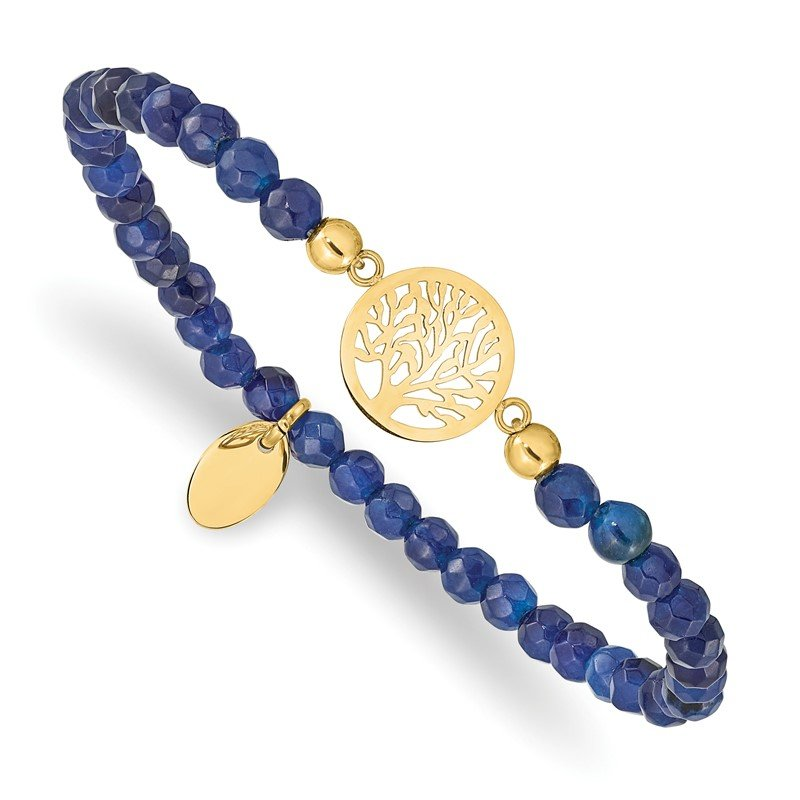 Chisel Stainless Steel Polished Yellow IP Tree of Life Blue Jade Stretch Bracelet