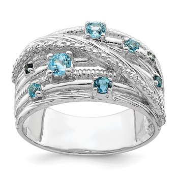 Sterling Silver Polished London Blue Topaz and Diamond Ring