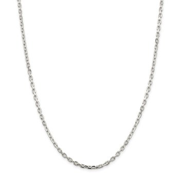 Sterling Silver 3.25mm Beveled Oval Cable Chain