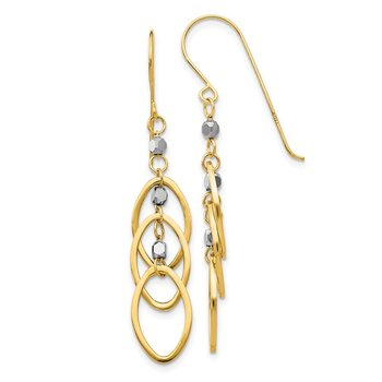 14k Two-tone Oval Beaded Dangle Earrings
