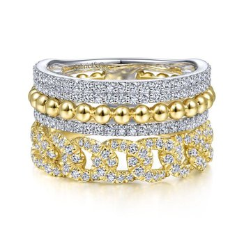 14K Yellow/White Gold Wide Band Layered Ring
