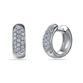 18K huggie Earrings 38 Diamonds 0.84C