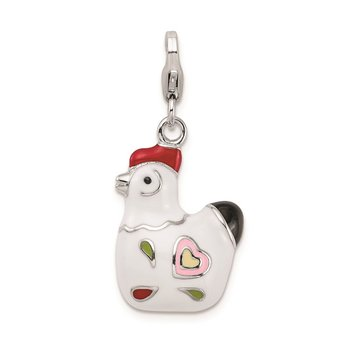 Sterling Silver RH and Enamel Rooster w/ Lobster Clasp Charm