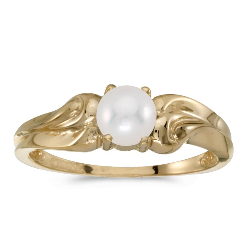 Color Merchants 10k Yellow Gold Pearl And Diamond Ring
