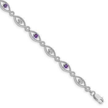 Sterling Silver Rhodium-plated Amethyst Diamond Bracelet