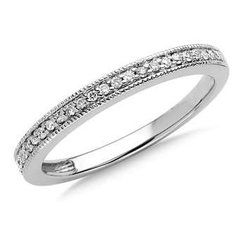 Pave set Diamond Stackable Wedding Ring in 14k White Gold (1/10ct. tw.)