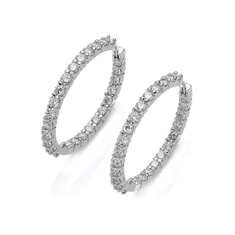Roberto Coin Small Inside Outside Diamond Hoop Earrings