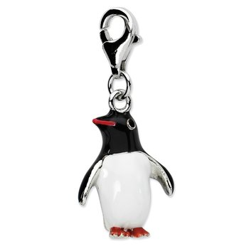 Sterling Silver Amore La Vita Rhodium-pl Polished Enameled Penguin Charm