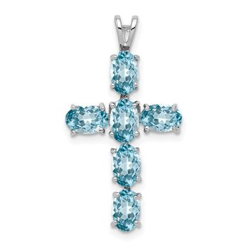 Sterling Silver Rhodium Plated Light Swiss Blue Topaz Cross Pendant