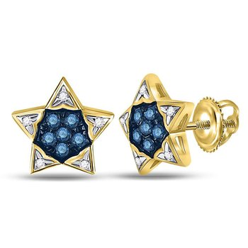 10kt Yellow Gold Womens Round Blue Color Enhanced Diamond Star Earrings 1/6 Cttw