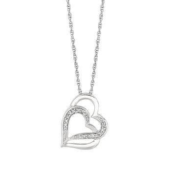 Silver Diamond .07ct Hearts Necklace