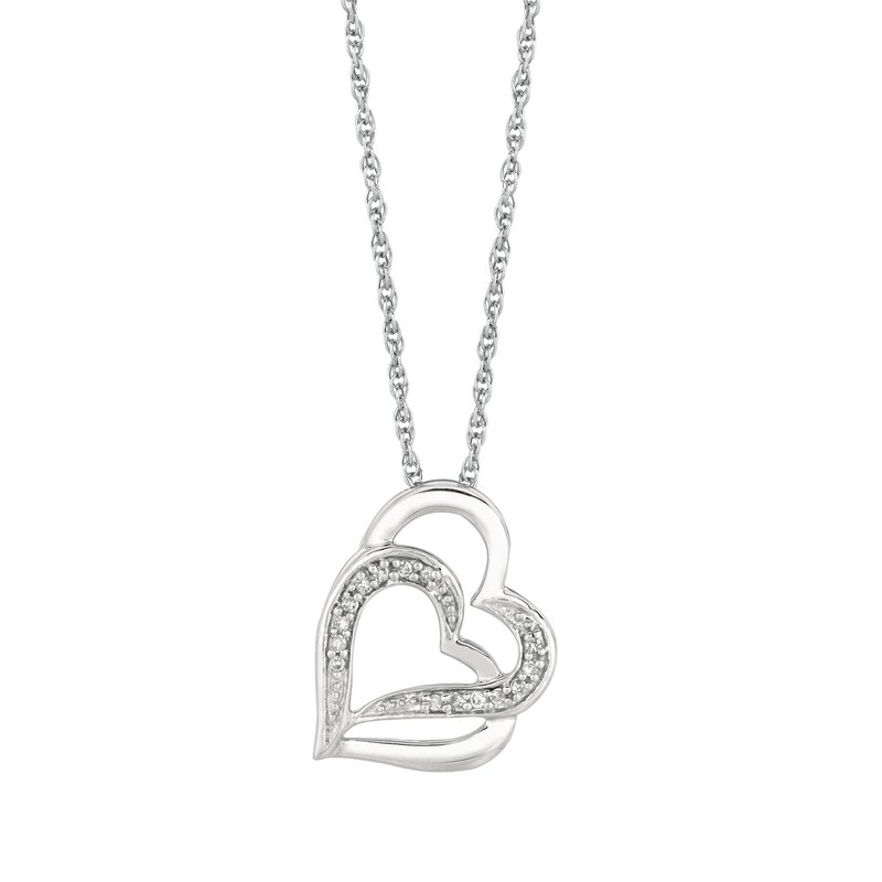 Royal Chain Silver Diamond .07ct Hearts Necklace