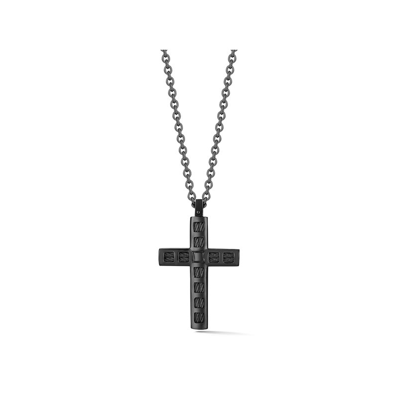 ALOR Black Cable & Steel Cross Necklace on Black Chain with 18kt Yellow Gold