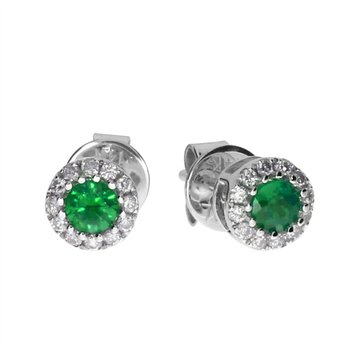 14k White  Emerald and Diamond Round Earring