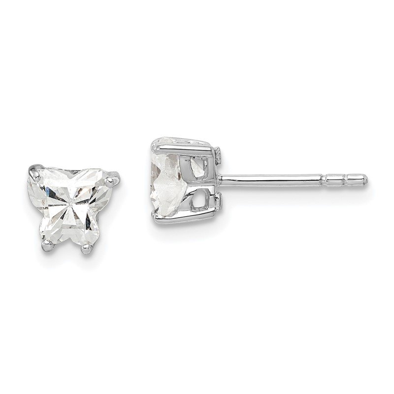 Quality Gold Sterling Silver Rhodium-plated CZ Butterfly Post Earrings