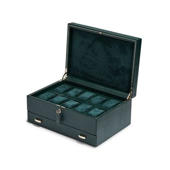 British Racing Green 10 Piece Watch Box With Storage