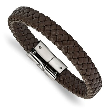 Stainless Steel Polished Braided Brown Leather 8.5in Bracelet