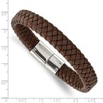 Chisel Stainless Steel Polished Braided Brown Leather 8.5in Bracelet