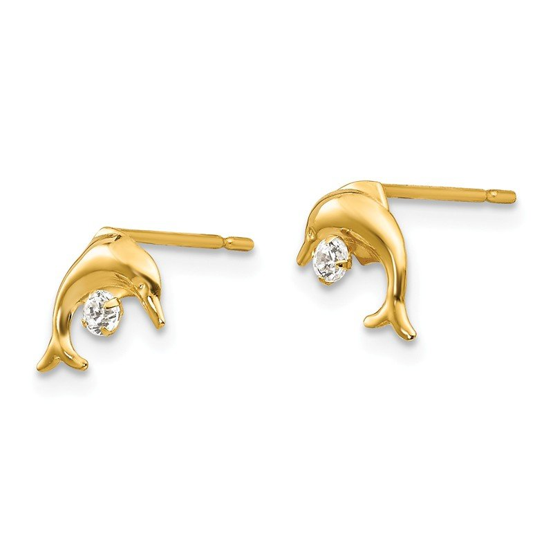 Quality Gold 14k Madi K CZ Children's Dolphin Post Earrings
