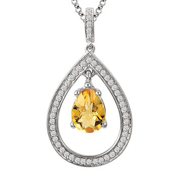 Sterling Citrine Diamond Pendant