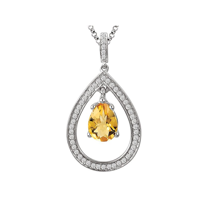 Tesoro Sterling Citrine Diamond Pendant