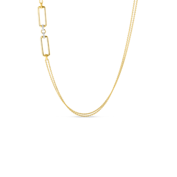 #28007 Of 18K Long Chain W. Rectangular Elements & Dia Accent