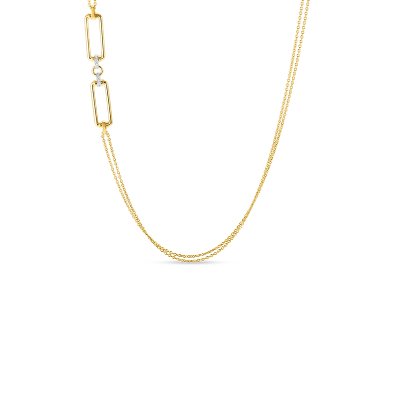 Roberto Coin  #28007 Of 18K Long Chain W. Rectangular Elements & Dia Accent