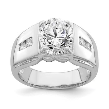 Sterling Silver Rhodium-plated 10x8 Oval CZ Ring