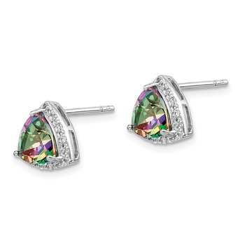 Sterling Silver Rhodium-plated Trillion Mystic Fire/White Topaz Earrings