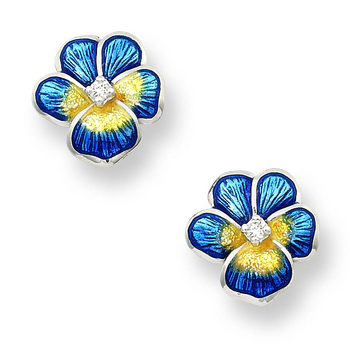 Sterling Silver Pansy Stud Earrings-Blue.  Diamonds.