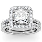 California Coast Designs Princess Diamond Halo Engagemant Ring