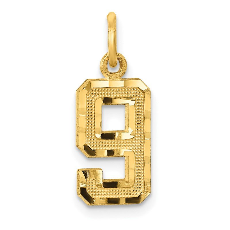 Quality Gold 14ky Casted Small Diamond Cut Number 9 Charm