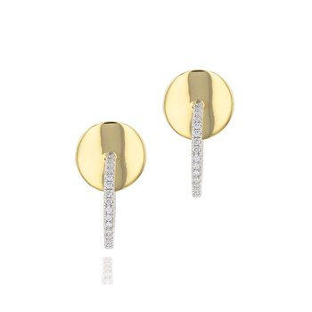 Yellow gold diamond plate diamond mini hoop earrings