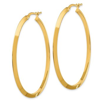 14K Large 3mm Knife Edge Oval Hoop Earrings
