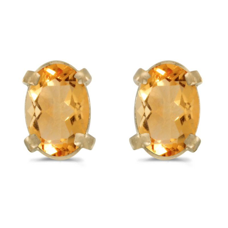 14k Yellow Gold Oval Citrine Earrings