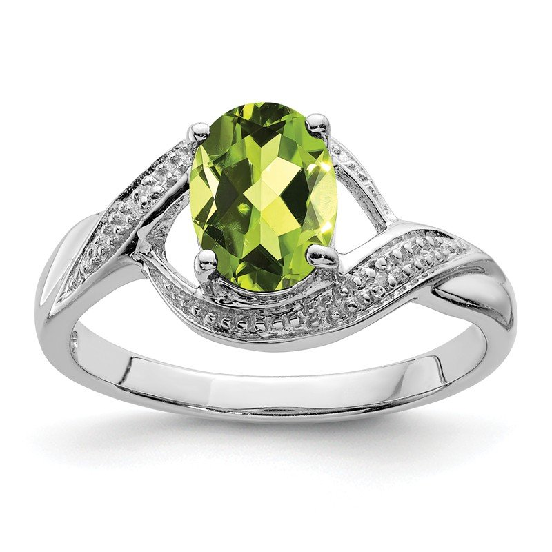 Quality Gold Sterling Silver Rhodium Peridot & Diamond Ring