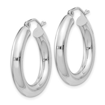 Sterling Silver Rhodium-plated 4mm Round Hoop Earrings