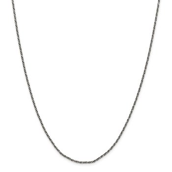 Sterling Silver Ruthenium-plated 1.7mm Twisted Tight Wheat Chain