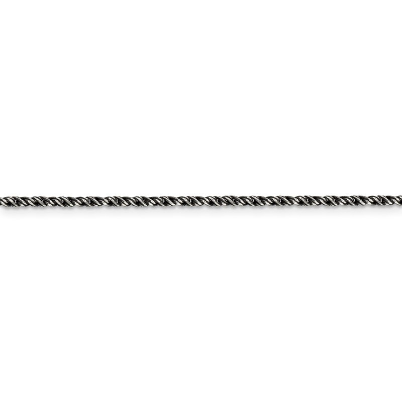 Quality Gold Sterling Silver Ruthenium-plated 1.7mm Twisted Tight Wheat Chain