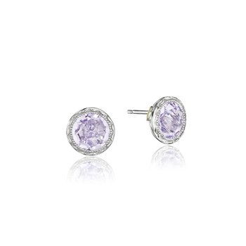 Petite Bezel Studs featuring Rose Amethyst
