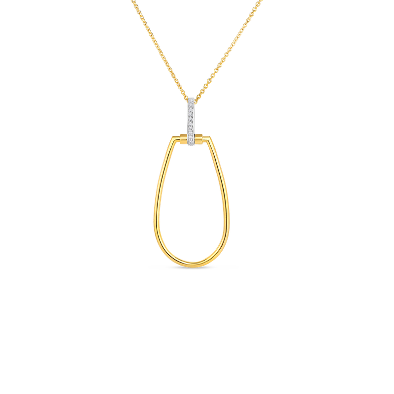 Roberto Coin  #28039 Of 18K Tapered Stirrup Pendant W. Dia Accent On Long Chain
