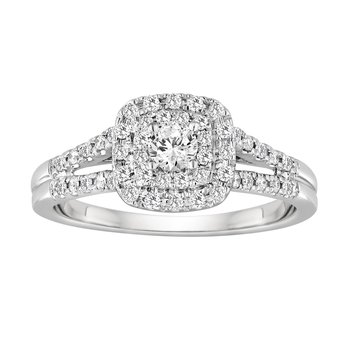BLISS14: 14KW Split Shank Cushion Halo Engagement Ring