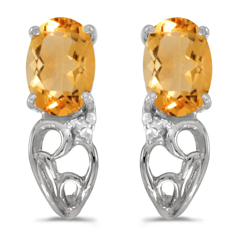 Color Merchants 14k White Gold Oval Citrine And Diamond Earrings